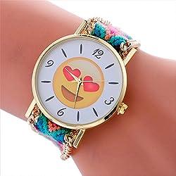 vovotrade Moda lindo emoji cara amor corazón ojos patrón trenzado pulsera cuerda wristband Señora mujer reloj de pulsera (h)