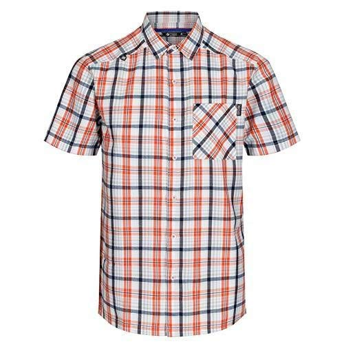 Regatta Herren Mindano IV Quick Drying Check Short Sleeve Casual Hemd, Blaze Orange, XL
