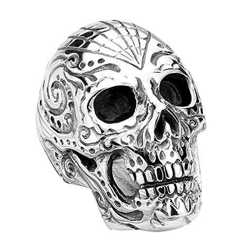 XBOMEN Männer Tatto Blume Alien Schädel Edelstahl Weinlese Punkrock Ring