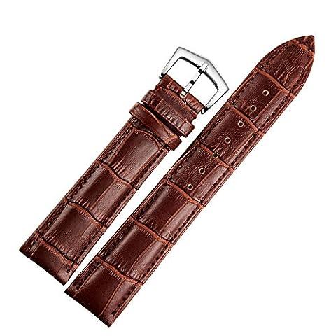 18mm montre en cuir marron remplacement bracelet en alligator bande rembourrée grainé classique boucle ardillon
