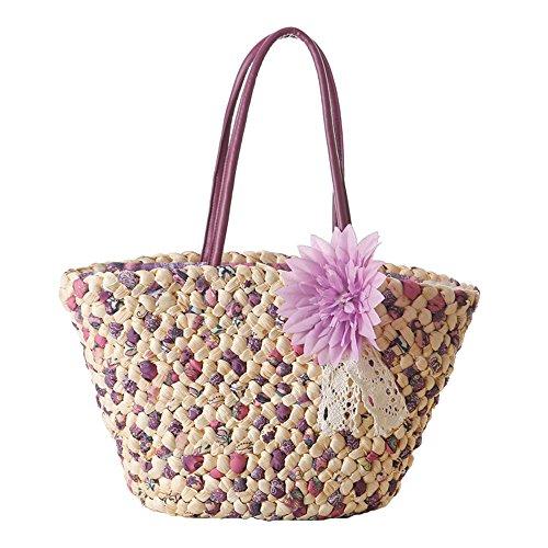 donne ragazze stile pastorale spiaggia fiore buccia di mais sacchetto di spalla tote bag Borsa a tracolla Borse a mano, rosso viola