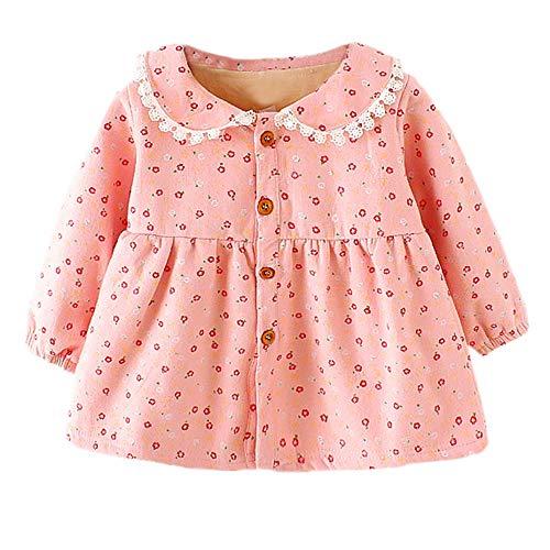 Fenverk Neugeborenes Baby MäDchen Blumenmuster Prinzessin Warm Kleid Outfits Kleider Einstellen...