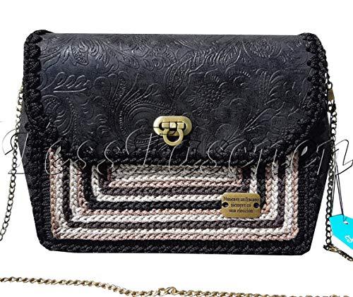 Kleine Damen Handtasche mit blumenprägung Schultertasche an der Kette Modische Schwarze Tasche mit beige Stickereien Designer Crossbody Tasche mit Muster