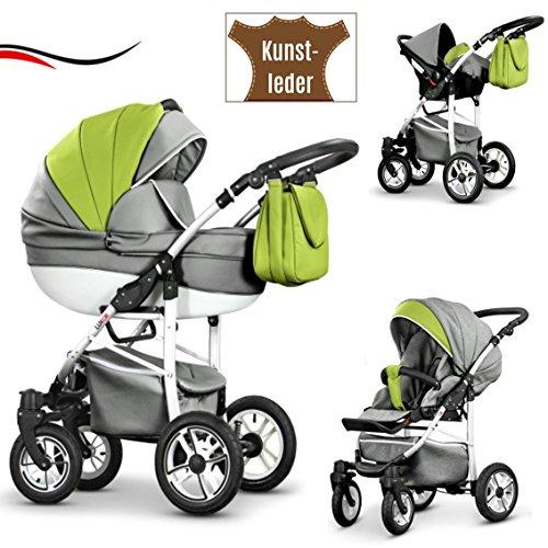 """16 teiliges Qualitäts-Reisesystem 3 in 1\""""COSMO-ECO\"""" - KUNSTLEDER: Kinderwagen + Buggy + Autokindersitz + Schwenkräder - Mega-Ausstattung - in Farbe (CE-7) GRAU-GRÜN KUNSTLEDER-WEIß"""