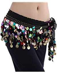 Pañuelo para la cintura Best Dance, de danza del vientre, varios colores, con cuentas, Mujer, color negro, tamaño…