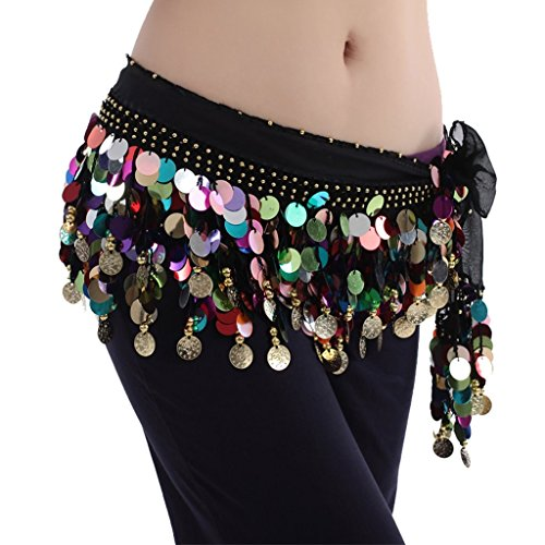 Pañuelo para la cintura Best Dance, de danza del vientre, varios colores, con cuentas, Mujer, color negro, tamaño Talla única
