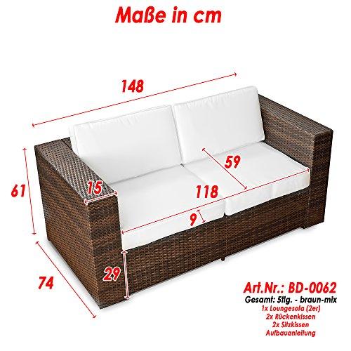 XINRO (2er) Polyrattan Lounge Sofa - Gartenmöbel Couch Bank Rattan - durch andere Polyrattan Lounge Gartenmöbel Elemente erweiterbar - In/Outdoor - handgeflochten - braun - 3
