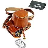 """MegaGear Housse pour appareil photo en cuir """"Ever Ready"""", sac, partie inférieure d'ouverture - Housse de protection pour Olympus OM-D E-M5 Mark II (Brun Clair)"""