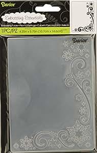 Darice Embossing Folder Cartella per Goffratura Mascherina Fiocchi di Neve e Arabesco, Plastica, Trasparente, 10.8x14.6x0.3 cm