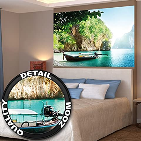 Posters Fishing Boat in a Tropical Bay Mural Decoration Vacation Trips Seaside Paradise Bay Nature Island Sea Travel Beach | Wallposter Photoposter wall mural wall decor by GREAT ART (55 x 39.4 Inch/ 140 x 100