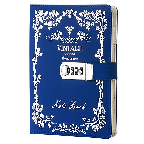 Digitales Notizbuch aus Leder mit Zahlenschloss, Tagebuch mit Bronze-Verschluss, Tagebuch blau