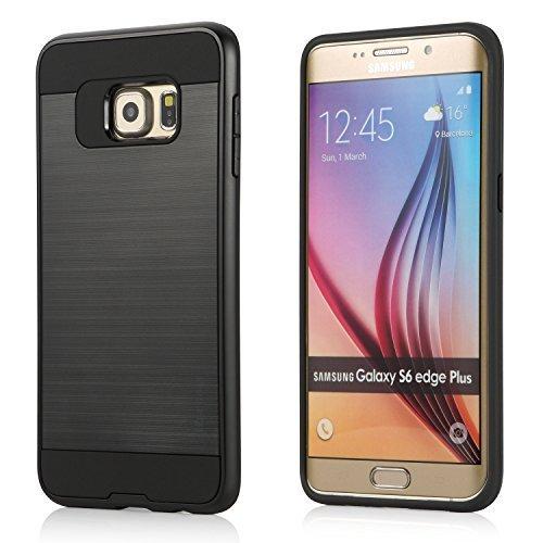 Samsung Galaxy S6 Edge Plus Funda - iHarbort® Samsung Galaxy S6 Edge Plus Funda doble capa de protección con cepillado acabado plástico amortiguación Combo armadura defensor caso cubierta protectora, negro