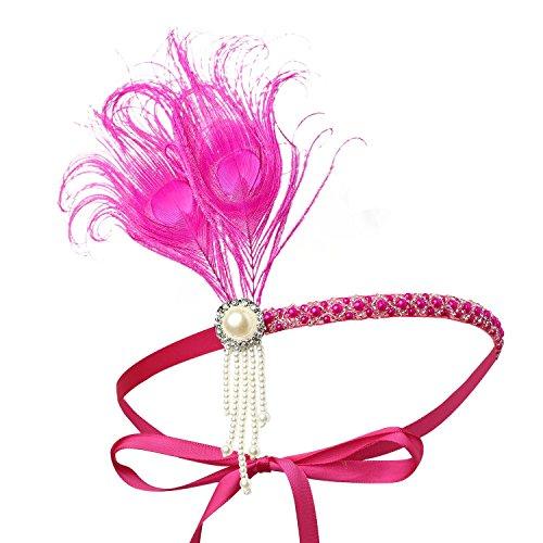 BABEYOND 1920s Stirnband Feder Flapper Stirnband mit Perlen Troddel 20er Jahre Haarband Große Gatsby Kostüm Accessoires Damen Retro Stirnband (1920er Haar Kostüm Jahre)