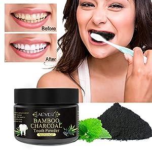 Aktivkohle Pulver Zähne, Cooljun Zahnpulver Amcool Teeth Whitening Powder Natürliche Organische Aktivkohle Bambus Zahnpasta