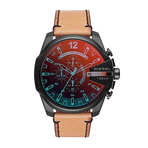 Diesel Herren Chronograph Quarz Uhr mit Leder Armband DZ4476 (Diesel Herrenuhr Leder)