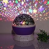 edealing(TM) Romantic Led Night Lamp Rotating Starry Star Moon Sky Rotation Night Lighting Projector Lamp Sleeping Lights For Kids Usb Charging (Purple)