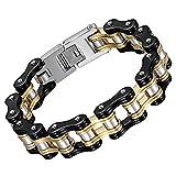 Herren Armband Edelstahl Fahrradkette schwarz gold , OIDEA 16mm Breite Armreif Armschmuck Armkette Handgelenk Biker Motorradkette