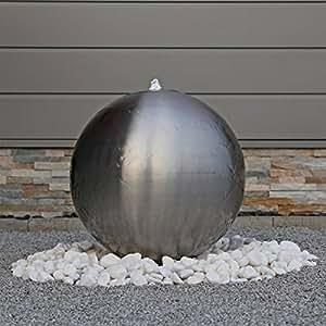 48cm gro er edelstahl kugel springbrunnen esb5 geb rstet kugelbrunnen mit led beleuchtung. Black Bedroom Furniture Sets. Home Design Ideas