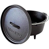 Big-BBQ DO 4.5 Dutch-Oven aus Gusseisen | Fertig eingebrannter 10er Koch-Topf aus Gusseisen | mit Deckelheber und Deckelständer | mit Beinen