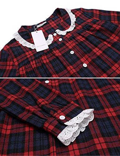 ADOME Damen Lang Nachthemd Herbst Langarm Nachtkleid Kariert gedruckt Sleepshirt Herbst Rot687