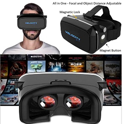 Rishlight Virtual Reality 3D Glasses Google Cardboard for All 4.7 to 6In Smart Phones with Magnet Button,All Redmi,MI,Oneplus,Lenovo K3 to K6