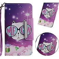 BONROY Hülle Case für Xiaomi Redmi 4A (5.0 Zoll),Lederhülle PU Leder Flip Tasche Klappbar Schutzhülle Handyhülle mit [Ständer Funktion]-(YB-Brille Katze)