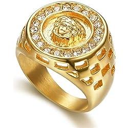 Homme Bague Fantaisie Grosse Chevalière Diamant synthétique Argent Doré Zirconium Alliage Personnalisé Militaire Soirée Cadeau Bijoux Gravé Lion King Animal,9