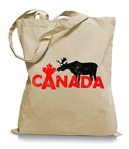 Ma2ca® Canada Moose Elch Stoffbeutel Einkaufstasche Tasche Tragetasche/Bag WM101-sand (Kanada-stoff)