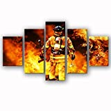 Firefighters Wall Art Canvas Prints Art Home Decor for living room Modern Pictures Pictures 5 Panel Breite Poster HD Printed Painting Framed Ready to hang...