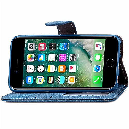 UKDANDANWEI Apple iPhone 7 Plus Etui Coque, PU Cuir Housse Flip Case mit Faire pivoter cartes slots protection pour Apple iPhone 7 Plus - Bleu Bleu