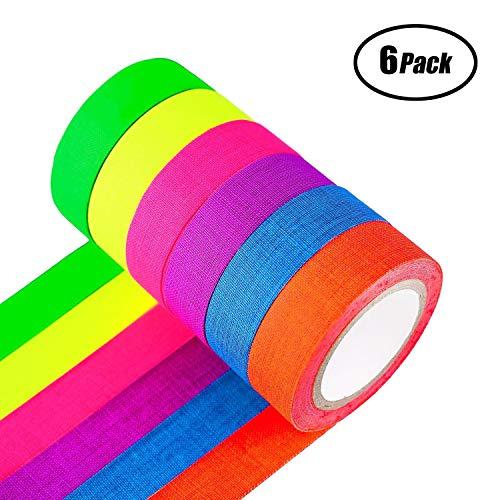 SUNRIZ Fluoreszierende Tape,UV-Schwarzlicht Neon Gaffer Tape/Luminous Tape/Tape neon/Selbstklebendem Band/Warnband,Perfekte Partydekoration (6 Block /6 Colors)(15mm x 5 m)
