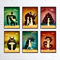 Studio Ghibli Hayao Miyazaki Minimalist Artwork Set, Totoro, Howl's Moving Castle, Mononoke, Nausicaa, Castle in the Sky, Spirited Away, Unframed Print