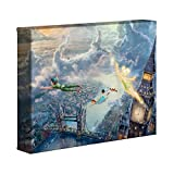 Thomas Kinkade Disney Tinker Bell und Peter Pan Fly to Never Land 20,3 x 25,4 cm Galerie verpackt Leinwand