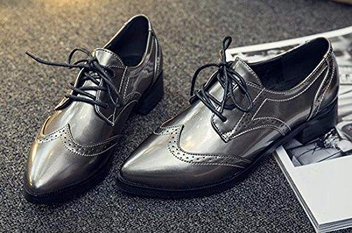 QIYUN.Z Femmes Chaussures Richelieu Cru Pointu Orteil Angleterre Ecole De Style Chaussures A Talons Cuban Gris Fonce