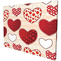"""Love Decor Collection Love Valentins Day Patchwork Warm Colors Polkadots Striped Background Painting Premium Panoramic Canvas Wall Art Painting 12""""X 16"""""""