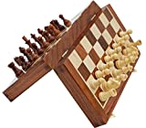 SouvNear Schach - Ultimatives 35 cm x 35 cm Klassisches Holz Reise Schachspiel mit Magnet Staunton Figuren und klappbares Spielbrett (dient zugleich als Aufbewahrungskoffer) - Handgefertigt von Handwerkern in feines Rosenholz mit einem Walnuss-Finish - Innenraum Familie Brettspiele