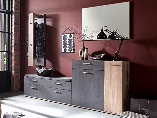möbelando Garderobe Garderobenmöbel Komplett Set Flurmöbel Kompaktgarderobe Bedford III