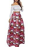 NEWISTAR Women High Waist Maxi African Floral Print A Line Skirt with Pocket (L)