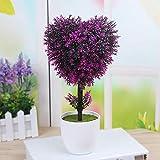 xiaokeai Simulazione Fiore Finto Bonsai Piccolo Albero pianta Verde-Albero a Forma di Cuore Viola Fiore Artificiale,Fiore Artificiale Rosa,Fiore Artificiale in Vaso,Fiore Artificiale Viola