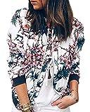 Minetom Damen Frühling Blouson Mode Floral Baseball Mantel Tops Coat Bomberjacke Bikerjacke Reißverschluss Fliegerjacke Kurzjacke 01 Blau DE 38