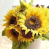 Produkt-Bild: Dragon868 Gefälschte Seide Künstliche 7 Köpfe Sonnenblume Blumenstrauß Floral Garten Wohnkultur (Gelb, Künstliche Blume)