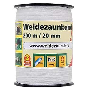Weidezaunband 200m, 20mm, 4x0,16 Niro, weiß 1* Band für den Weidezaun