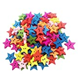 MagiDeal 100 Stück Sterne Holzknöpfe Bastelknöpfe 2 Löcher Mehrfarbige Knöpfe Kinderknöpfe Ideal für Kleidung Nähen