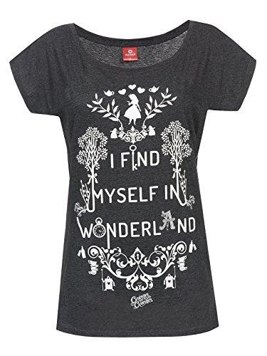Alice im Wunderland I Find Myself in Wonderland Girl-Shirt Grau Meliert XXL (Womens Alice T-shirt)