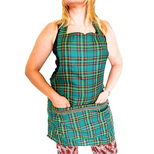 Scottish Frauen Schürze Scottish Kilt verstellbare Schnürsenkel Küche Pub Esszimmer Bistro Made in Italy -