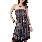 OCTOPUSIR Women Sleeveless Strapless Beach Sundress 2018 Ladies Summer Ethnic Bohemian Off Shoulder Floral Printed Bandeau Boobtube Casual Mini Cover up Dress,Colour 2