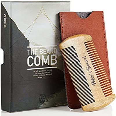 Beard Comb Wooden - Gift Set Small Wood Kit Brush Pocket Fine Dual Comb with Leather Case Pouch - Perfect with Beard Oil Balm Wax Scissors - Antistatic Comb for Men Presented in Deluxe Gift Box