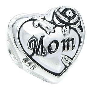 Amore, in argento Sterling, a forma di cuore, motivo: Rose, stile europeo, con Charm