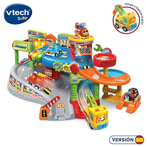 VTech- Garaje multitaller TutTut Bólidos Playset Taller mecánico Interactivo con Luces y Voces Que activan Frases, Sonidos y melodías, Incluye vehículo Capicúa la grúa, Multicolor (80-512722)