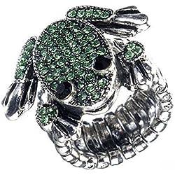 Para-anillo con dulces rana, Green Frog, Rhinestone